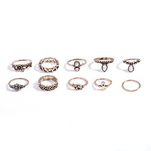 10pcs/set Fashion Vintage Rhinestone Hollow Out nudillos uñas Midi Juego de Anillos Joyería