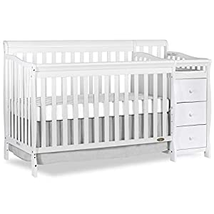 Dream On Me 5-in-1 Brody Convertible Crib with Changer in White, Greenguard Gold Certified