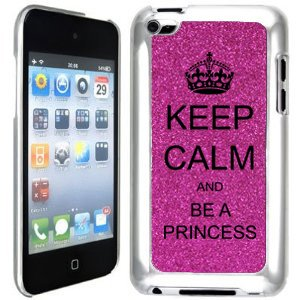 Hot Pink Apple iPod Touch 4th Glitter Bling Hard Case Cover GT147 Keep Calm and Be A Princess