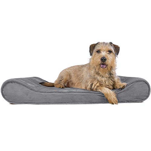 Furhaven Pet Dog Bed | Orthopedic Micro Velvet Ergonomic Luxe Lounger Cradle Mattress Contour Pet Bed for Dogs & Cats, Gray, Large