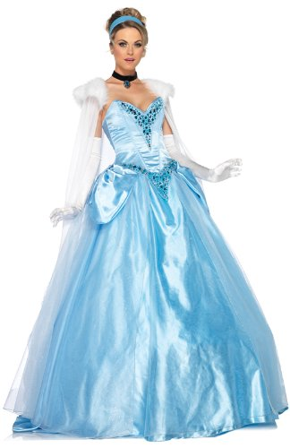 Leg Avenue Disney 6Pc. Deluxe Princess Cinderella Dress Cape Crown Head Piece, Blue, Large - Cinderella Fancy Dress For Adults