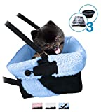 Blue & Black Car Booster Seat + Plush Blanket + Collapsible Dish for Small Dogs, Puppies, and Pets For Sale