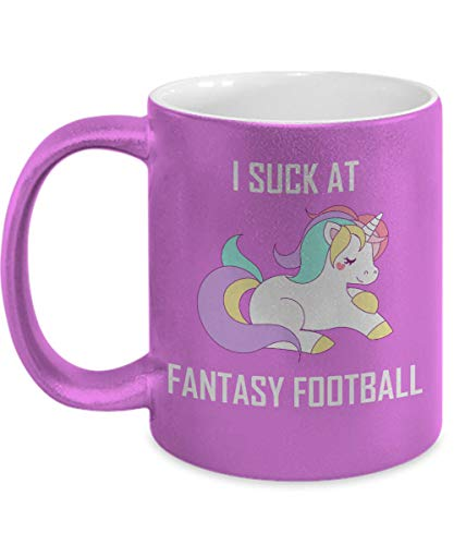 I Suck At Fantasy Football Mug Pink Unicorn League Loser Punishment Gift Coffee Cup (Best Fantasy Football Punishments)