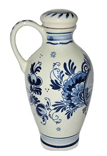 Vintage Bols Delft Blue Holland Hand Painted Windmill & Floral Scene 7 1/4 Inc Porcelain Jug Pitcher Carafe w/Cork Top -