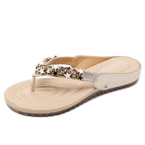 - Women's Thongs Flip Flops Flat Sandals Beads Studs Soft Sole Bohemian Summer Casual Dress Sandals Golden