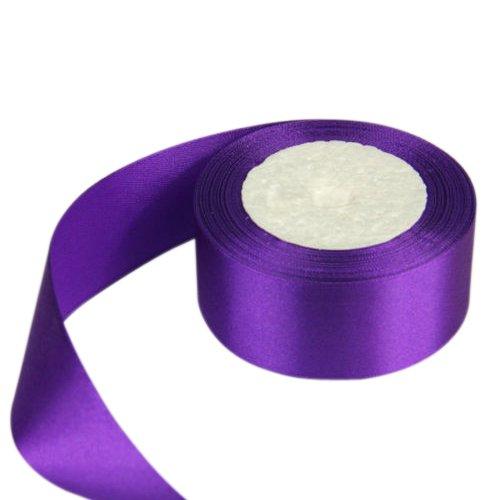SODIAL(R) 40mm 25 Yards Satin Ribbon Wedding Craft DIY Decorations Accessory Deep Purple