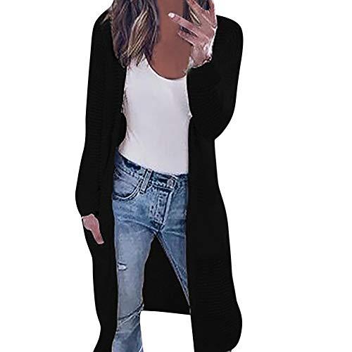 (Kangma Womens Long Sleeve Knitting Cardigan Tops Ladies Autumn Contrast Jacket Shirts Black)
