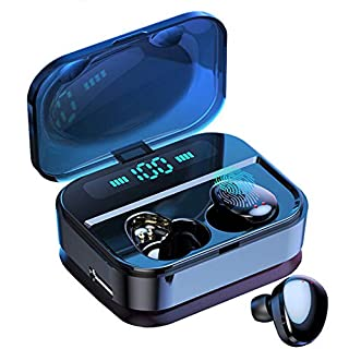 Bluetooth 5.0 Earbuds True Wireless Earbuds Y11 Bluetooth Earphones Wireless Earphones Sports IPX7 Waterproof Touch Control LED Display Charging Case(Black)