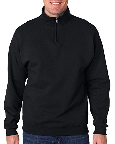 Jerzees Men's NuBlend 1/4 Zip Cadet Collar Sweatshirt, Blk, Medium