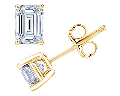 (Emerald Cut Stud Earrings 14k Yellow Gold Over Sterling Silver)