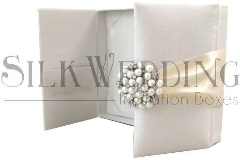 Silk Wedding Invitation Box In Ivory In Gate Fold Style With Ornate (Silk Box Wedding Invitations)