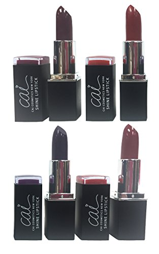 Cai Cosmetics 4 Color Gloss Shine Lipstick Set (Plum, Wine, Deep Purple, Deep Red)