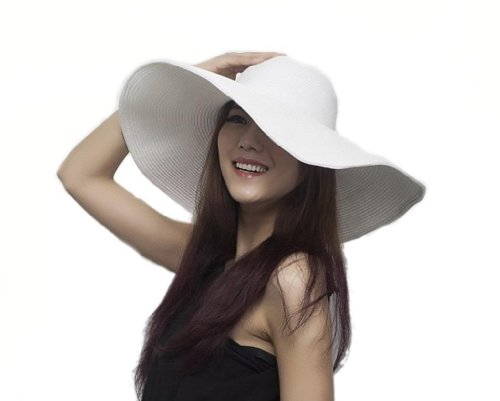 Bigood Women's Wide Floppy Brim Summer Beach Outdoor Sun Hat White