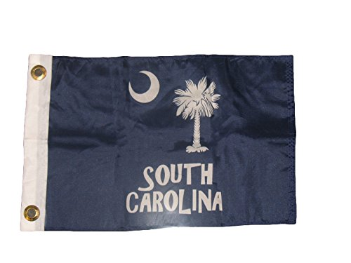 ALBATROS 12 inch x 18 inch State of South Carolina SC Letters Blue Boat Flag Banner for Home and Parades, Official Party, All Weather Indoors -