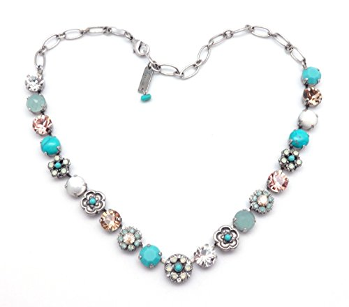 MARIANA M1042 Summer Palace Aqua with Simulated Mother of Pearl & Clear Swarovski Silver Plated Necklace by Mariana