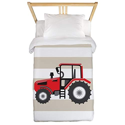 (CafePress Red Farm Tractor, Farmer; On Tan and White Stripes Twin Duvet Cover, Printed Comforter Cover, Unique Bedding, Microfiber)