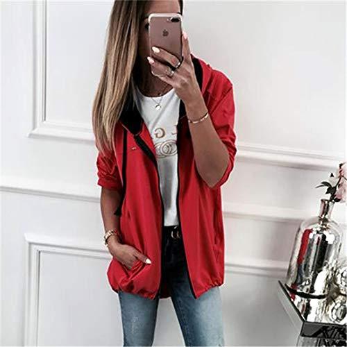 Lunga Felpa Manica Outerwear Donne Coat Cappotti Sweatshirt Rosso Tops Onlyoustyle Casual Primavera Cime Cappuccio Moda Cerniera Con Autunno Giacca Hoodie E XY0Sqwf