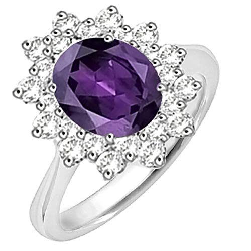 Diamond Scotch 2 Ct Simulated Amethyst Starburst Cocktail Cluster Solitaire Halo Engagement Ring in 14k White Gold Over