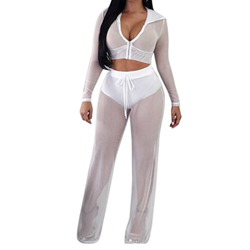 Yizenge Women's Beach Bikini Swimsuit Cover up Mesh Hoodies Crop Top Long Pant Two Piece Jumpsuits Outfits (Small, White)