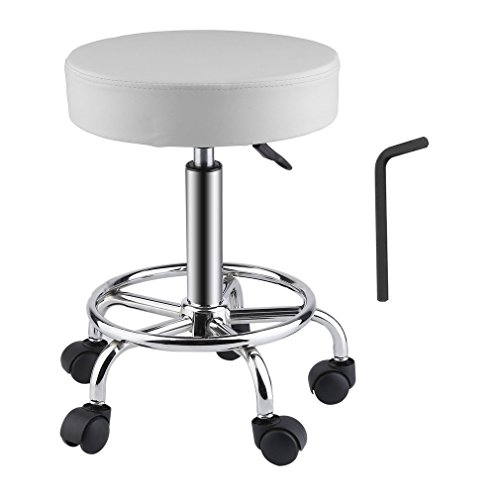 Homgrace Beauty Salon Rolling Swivel Stool, Tattoo Massage Facial Spa Adjustable Backrest Beauty Stool Chair (White 2)