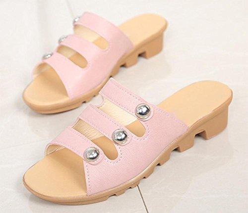 Weibliche Art und Weise flache Sandalen mit dem Wort ziehen beiläufige flache Sandalen und Pantoffeln weibliche gleiten Pink