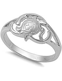 Hawaiian Turtle Filigree Sea Life Ring New .925 Sterling Silver Band Sizes 5-10