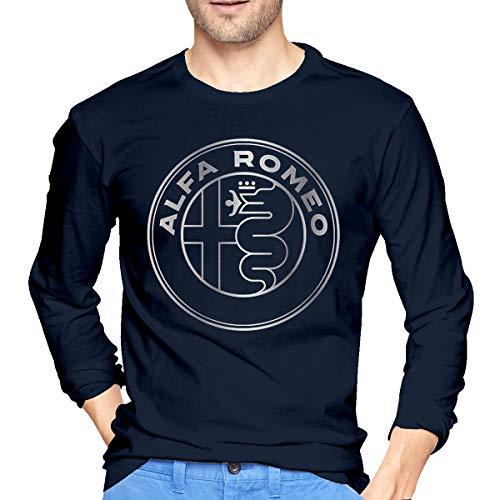 Hengteng Mens Casual Tees Alfa Romeo Metallic Grey Logo Long Sleeves Tshirts Navy XXL