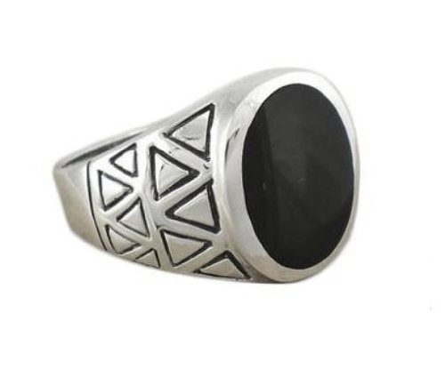 925 Sterling Silver Mens Genuine Black Oval Onyx Exotic Aztec Ring (Mexican Onyx Ring)
