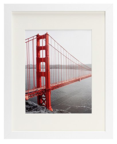 Frametory, 11x14 White Picture Frame - Made to Display Pictures 8x10 Photo with Ivory Color Mat - Wide Molding - Preinstalled Wall Mounting Hardware (11x14, White)