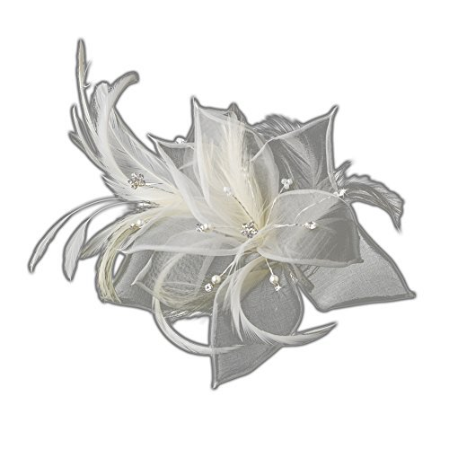 Ivory Flower Feather Fascinator with Pearls, Rhinestones & Seed Beads by outlet