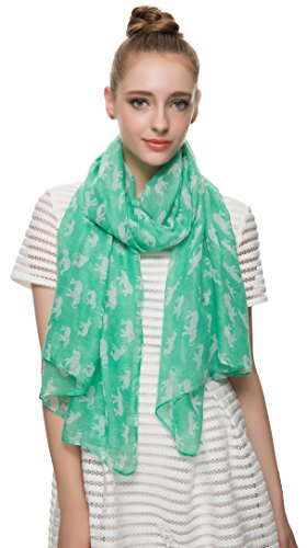 HUAN XUN Chiffon Lightweight Lucky Elephant Animal Print Scarf Shawl, Mint