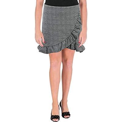 Aqua Womens Plaid Ruffle Mini Skirt