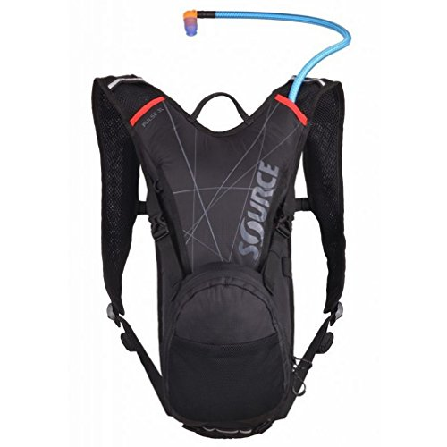 Source Outdoor Pulse 2L Hydration System Pack with 1L Cargo Pouch, Black/Red