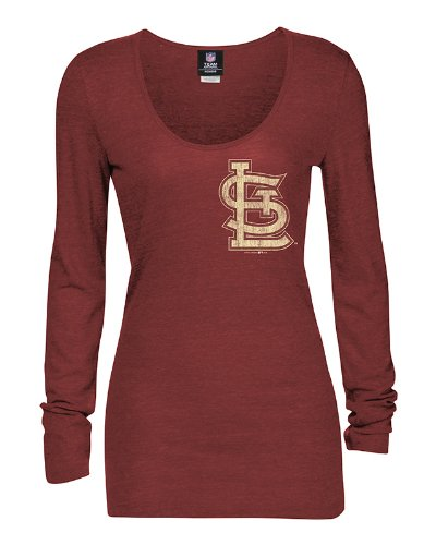 MLB St. Louis Cardinals Long Sleeve Tee, Red/Heather, - Sleeve Louis Long Cardinals
