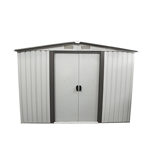 Bestmart inc new 8 39 x8 39 outdoor steel garden storage for Storage shed overhead door