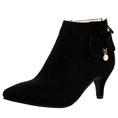 Heel Fermeture Black Femmes COOLCEPT Elegant Eclair Kitten Bottine Pointu Avce qnfUXRw1T