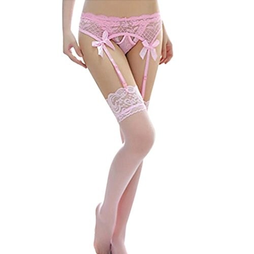 cccb78fc816 FAPIZ Women Lace Top Thigh-Highs Stockings   Garter Belt Suspender Set  (Pink)