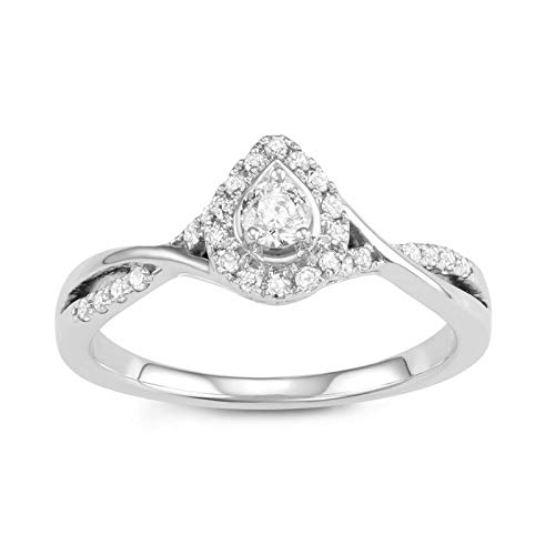 Triss Jewelry 1/3 Cttw Diamond Pear Shape Ring For Women in 10k White Gold