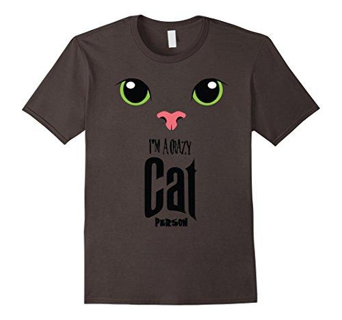 Crazy Cat Man Costume (Mens Halloween Tees Gift Funny Shirt   Crazy Cat Person Small Asphalt)