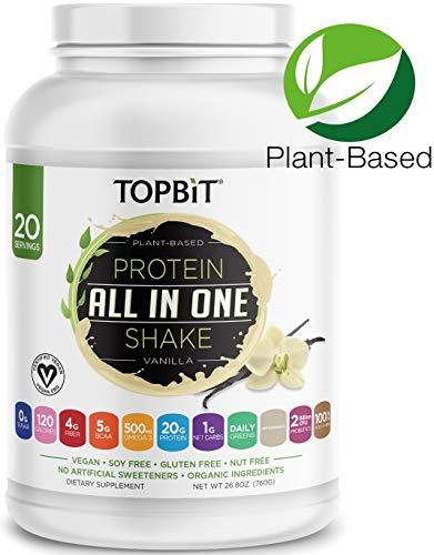 (TOPBiT All-in-One Plant Protein Powder, Vanilla - Vegan Protein Powder, Sugar Free Protein, Stevia Free, Nut Free, Soy Free, 20g Protein Shake, Probiotics, BCAA, Greens, 1.8LB)