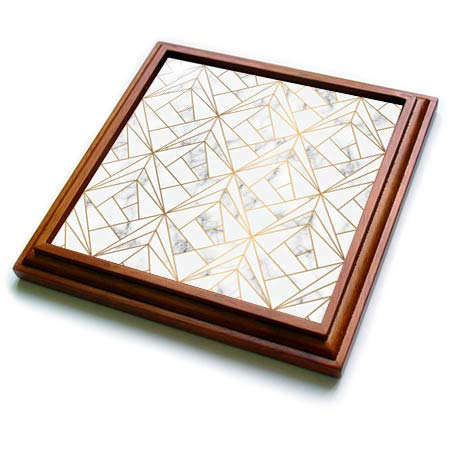 3dRose Anne Marie Baugh - Patterns - Gray and White Abstract Triangle Geometric - 8x8 Trivet with 6x6 ceramic tile (trv_316233_1) ()