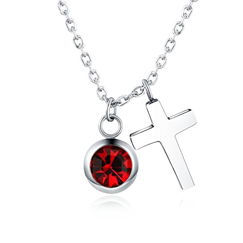 Vinjewelry Crystal Birthstone and Cross Pendant Necklace Girls Best Gifts For Birthday,Christmas,First Communion (January Birthstone - Garnet) (January Birthstone Cross)