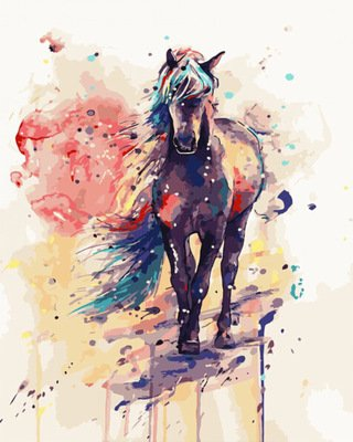 JynXos Wooden Framed Paint By Number Horses Linen Canvas DIY Painting - Painted Horse