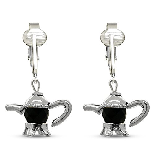 Victorian Clip Earrings for Women-Beautiful Earrings Unpierced Vintage Clip Earring Glass Filigree Dangle (Black Teapots)