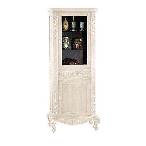 "MAYKKE 33"" x 72"" Tall Garonne Curio Cabinet Display Case | Elegant Living Room, Bedroom, Bathroom Storage Organizer | Antique White, YSA2050101"