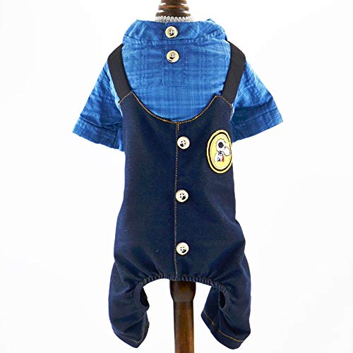 D-ModernPet Dog Jumpsuit - 2019 Solid 100% Cotton Dog Clothes Spring and Summer Dark Grid Collar Shirt Four-Legged Bib Pants Small Pet New