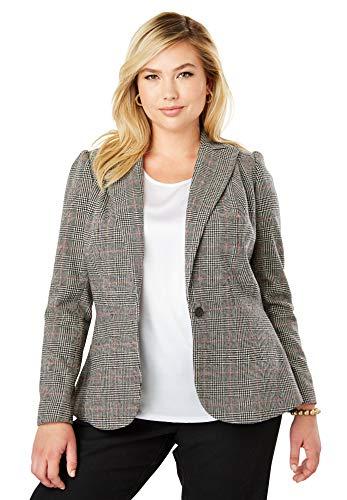 (Jessica London Women's Plus Size Wool-Blend Peplum Blazer - Multi Houndstooth Plaid, 20)