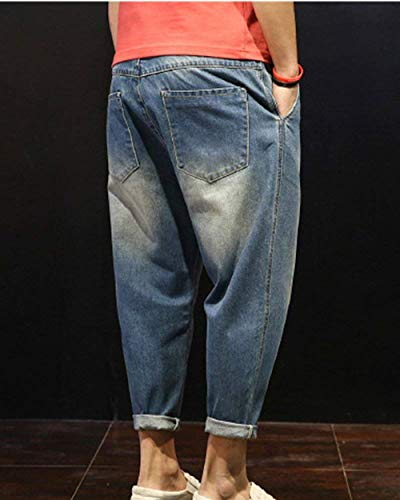 Casual Blau Normali Design Di Da Uomo Harem Pantaloni Targogo Jeans Fit Basic Slim qO76PAxw