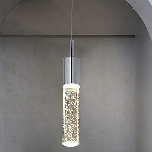 SPARKSOR One-Light 4W LED Pendant lamp, Crystal Hanging Lamp, Pendant Lighting Fixture Chrome Finish with Bubble Glass, Suitable for Dining Room, Kitchen (Pendant Led Lamps)