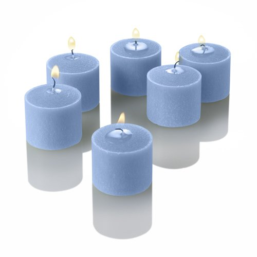 Set of 144 Light Blue Richland Votive Candles and 144 Frosted Votive Holders